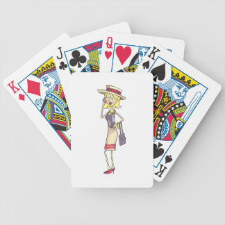 WOMAN ON CELLPHONE BICYCLE PLAYING CARDS