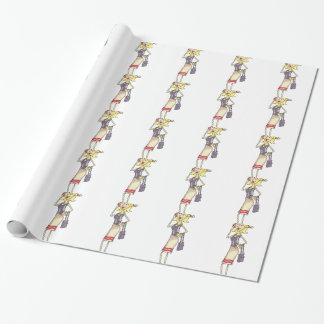 WOMAN ON CELLPHONE WRAPPING PAPER