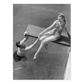 Woman on Diving Board Postcard