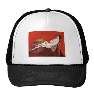 Woman on Red Sofa Mesh Hat