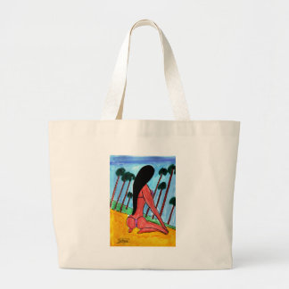 Woman on the Beach Large Tote Bag