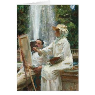 Woman Painting at Villa Torlonia Italy Card