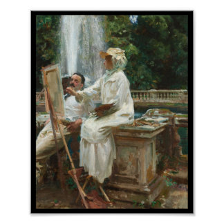 Woman Painting at Villa Torlonia Italy Poster