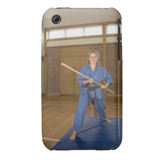 Woman performing Ken-Do-Kai Karate, smiling, iPhone 3 Covers