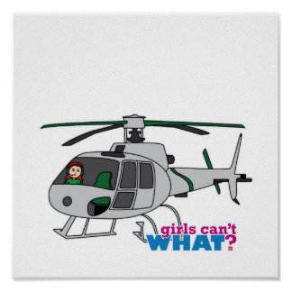 Woman Pilot flying Silver Helicopter - Light/Red Posters