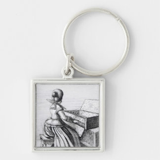 Woman Playing at a Keyboard, 1635 Silver-Colored Square Keychain