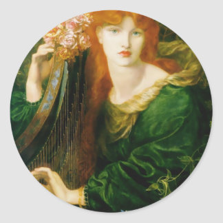 Woman Playing Harp Painting Classic Round Sticker