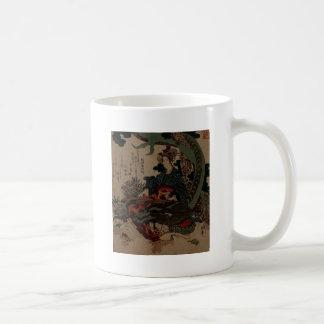 Woman playing Koto with Dragon Classic White Coffee Mug