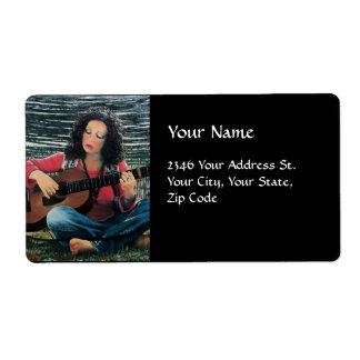 Woman Playing Music With Acoustic Guitar Shipping Label