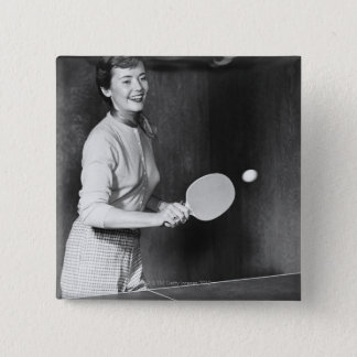 Woman Playing Table Tennis 2 Inch Square Button