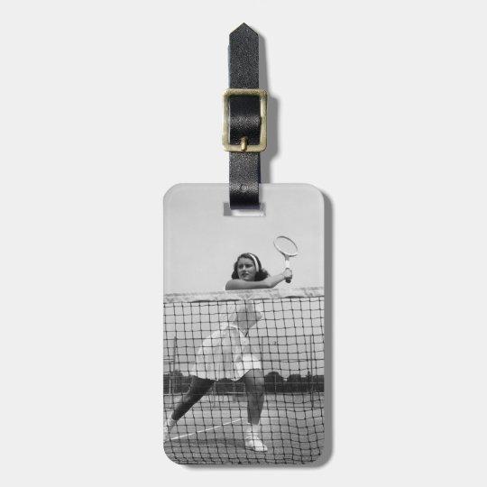 Woman Playing Tennis Luggage Tag