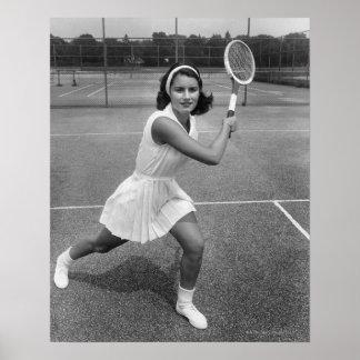 Woman playing tennis poster