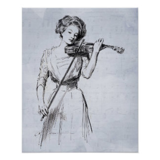 Woman playing the violin poster