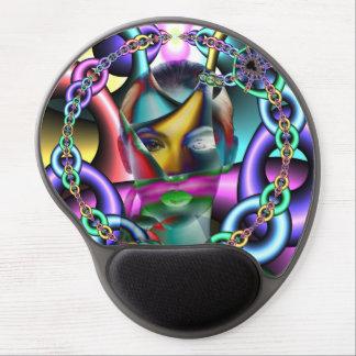 Woman portrait artistic colorful illustration gel mouse pad