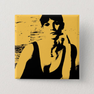 Woman portrait as art button