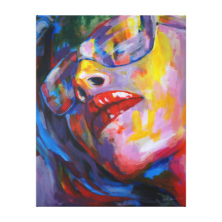 woman portrait with eyeglass canvas print