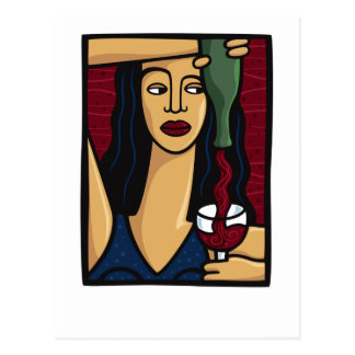 Woman Pouring Red Wine Postcard
