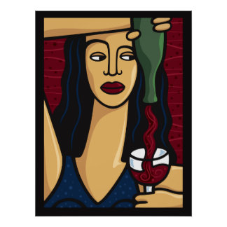 Woman Pouring Wine PRINT
