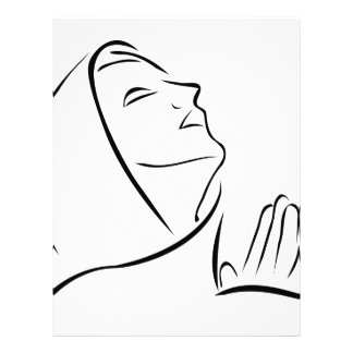 Woman praying looking up at the sky letterhead template