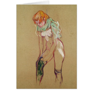 Woman Pulling Up her Stocking, 1894 (oil on card) Card