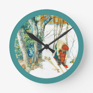 Woman Putting on Her Skis Wall Clock
