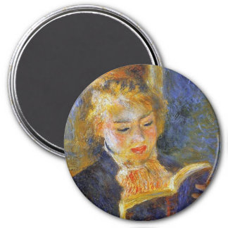 Woman Reading- Auguste Renoir 3 Inch Round Magnet