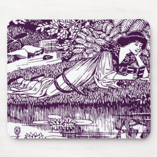 Woman Reading by a pond Mouse Pad