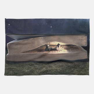 Woman Reading Inside Book at Night Kitchen Towel