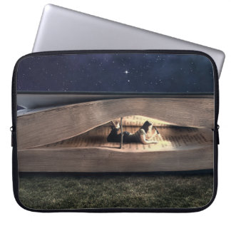 Woman Reading Inside Book at Night Laptop Sleeve