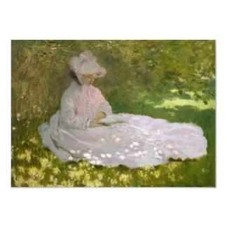 Woman Reading Springtime Monet Custom Announcement