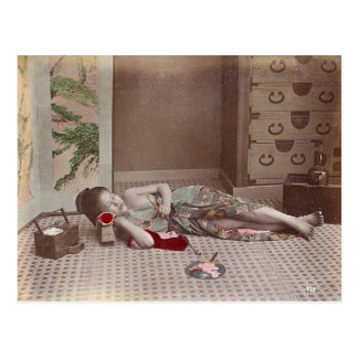 Woman Reclining with Pipe, Japan Vintage Postcard