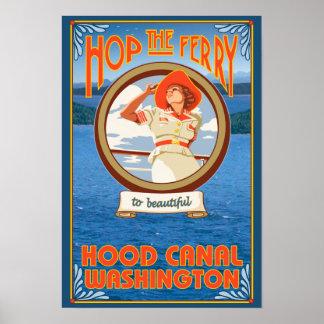 Woman Riding Ferry - Hood Canal, Washington Poster
