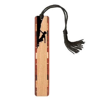 woman rock climbing wooden bookmark