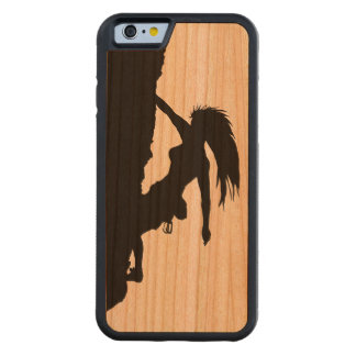 woman rock climbing wooden iPhone 6 case