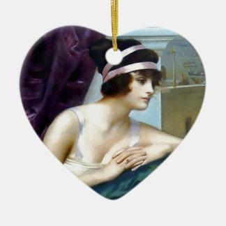 Woman Roman Colosseum painting Ceramic Heart Ornament