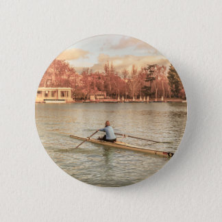 Woman Rowing at Del Retiro Park, Madrid, Spain 2 Inch Round Button