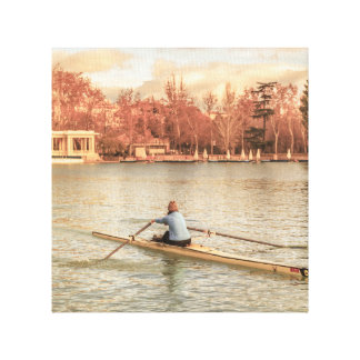 Woman Rowing at Del Retiro Park, Madrid, Spain Canvas Print