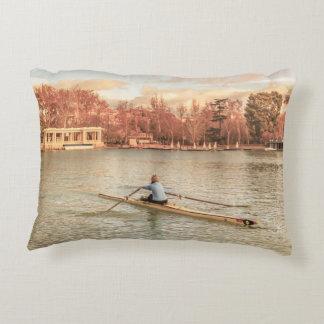 Woman Rowing at Del Retiro Park, Madrid, Spain Decorative Pillow