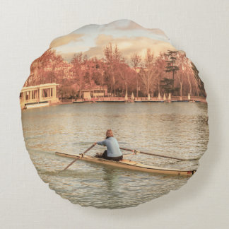Woman Rowing at Del Retiro Park, Madrid, Spain Round Pillow