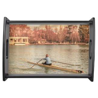 Woman Rowing at Del Retiro Park, Madrid, Spain Serving Tray