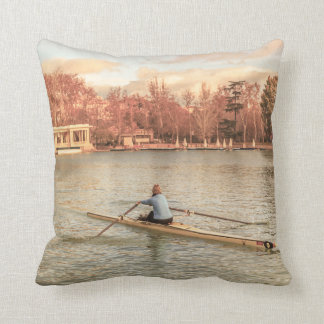 Woman Rowing at Del Retiro Park, Madrid, Spain Throw Pillow