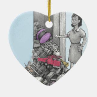 Woman's Stuff Falls Out of Closet Ceramic Ornament