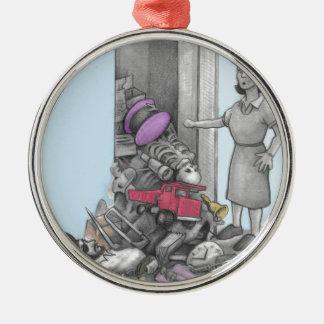 Woman's Stuff Falls Out of Closet Metal Ornament