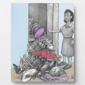 Woman's Stuff Falls Out of Closet Plaque