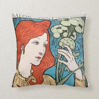 Woman Salon des 100 Throw Pillow