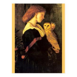 Woman Screech Owl antique painting Postcard