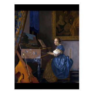 Woman Seated at a Virginal by Vermeer Postcard
