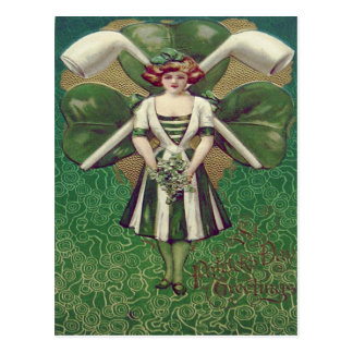 Woman Shamrock Clay Pipe Postcard
