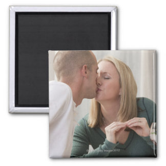 Woman signing the word 'Kiss' in American Sign Square Magnet