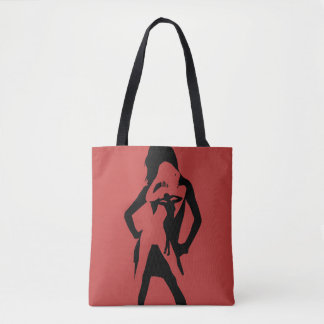 Woman Silhouette Red and Black Tote Bag